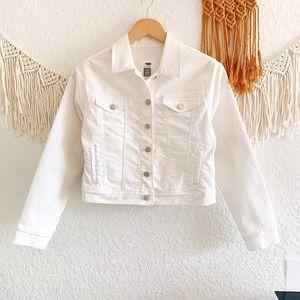 Old Navy Cotton Denim White Jean Jacket